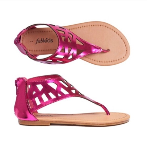 eb40afb11f75 FabKids Girls Pink Sandals Chandelier Cutout 7